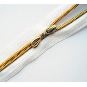 Молния витая Т7 20 см декоративная, золото, неразъемная